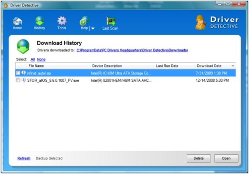 Driver Download History